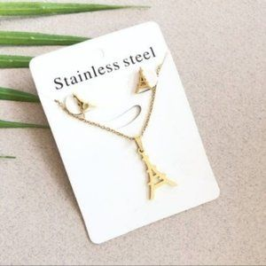 NEW Eiffel Tower Stainless Steel Necklace Earring